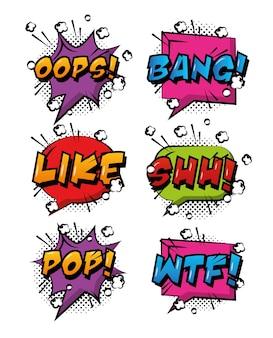 Komische pop-art tekstballonnen gekleurde effecten retro