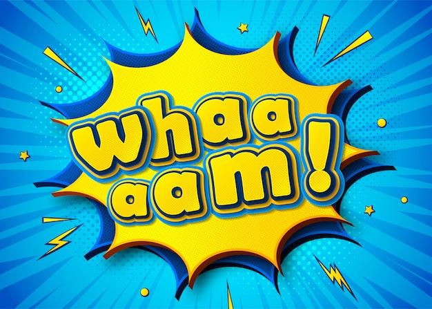 Komische poster met wham belettering in pop-artstijl