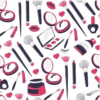 Komische producten voor gezichtsverzorging en make-up naadloos patroon