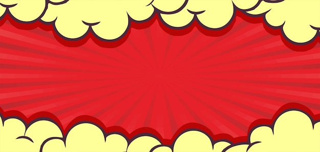 Komische rode achtergrond met wolkenrand