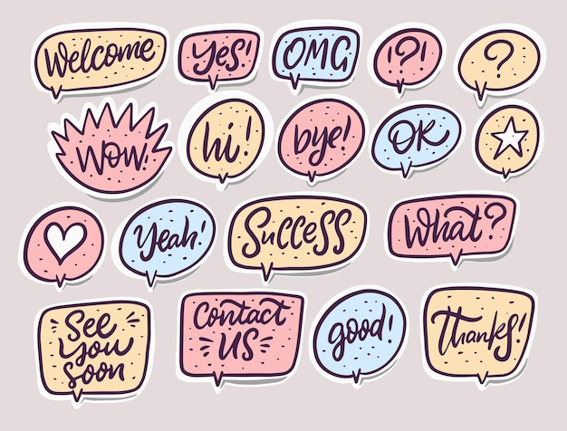 Komische spraak bubbels dialoogvenster woord set
