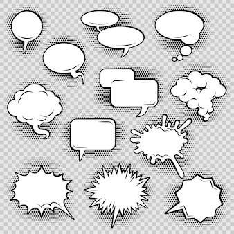 Komische spraak bubbels iconen collectie van wolk ovale rechthoek en gekartelde vorm