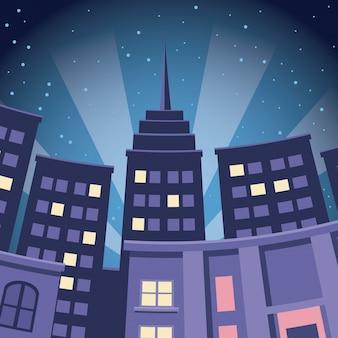 Komische stad gebouw wolkenkrabber nacht weergave Premium Vector