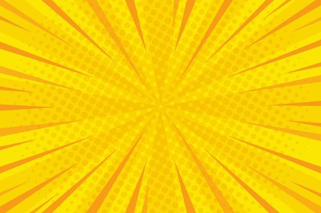Komische stijl achtergrond geel gekleurd en stippen