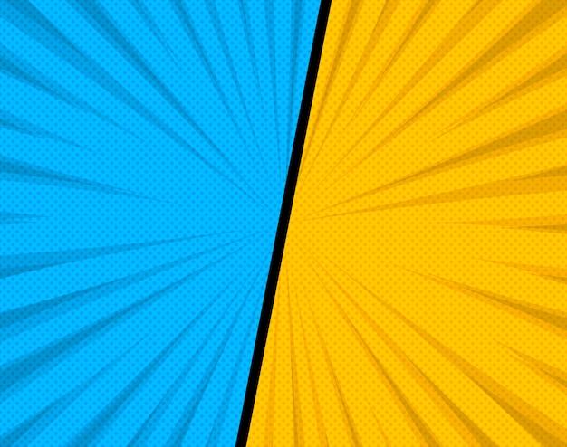 Komische stijl achtergrond met stippen. blauwe en gele kleuren. vectorillustratie.