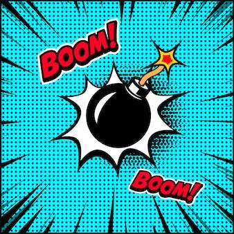 Komische stijl bom illustratie. element voor poster, banner, flyer. illustratie