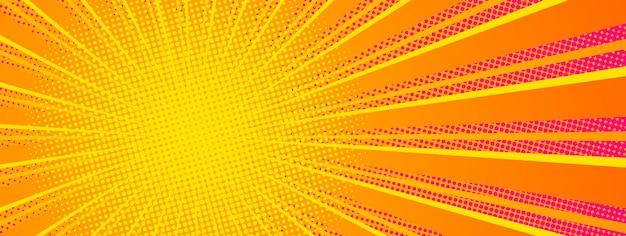 Komische stijl horizontale banner met radiale balken voor productpresentatie. helder oranje rood en geel. vector illustratie