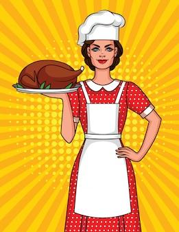 Komische stijl illustratie van een mooie vrouw in de hoed van een kok met een bord eten