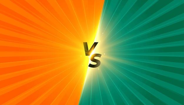 Komische stijl versus vs banner met stralenstreep