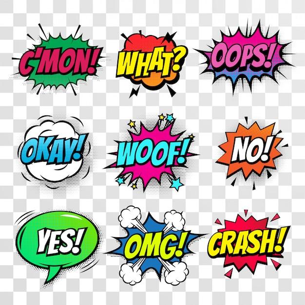Komische tekst bubbels geïsoleerde pictogrammen instellen
