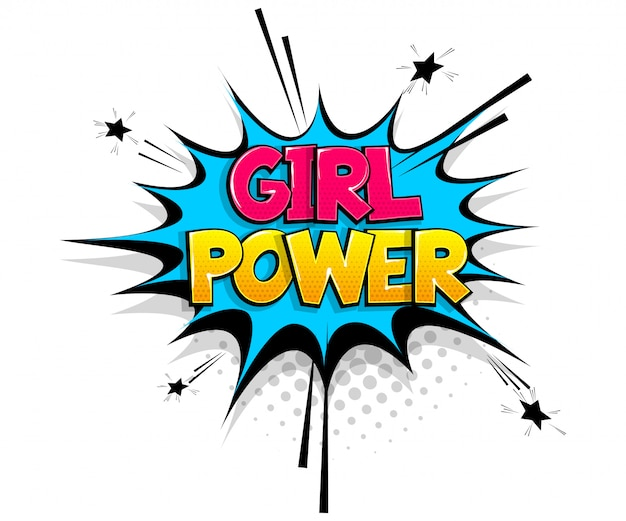 Komische tekst girl power op toespraak bubble cartoon pop-art stijl