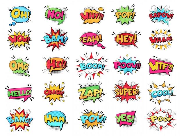 Komische tekstballon. cartoon tekstboek wolken. comic pop-art boek pow, oeps, wauw, boem uitroeptekens ondertekent strips woorden set. creatieve retro ballonnen met jargon zinnen en uitdrukkingen