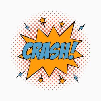 Komische tekstballon met emoties crash cartoonschets van dialoogeffecten in pop-artstijl