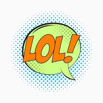 Komische tekstballon met emoties lol cartoonschets van dialoogeffecten in pop-artstijl