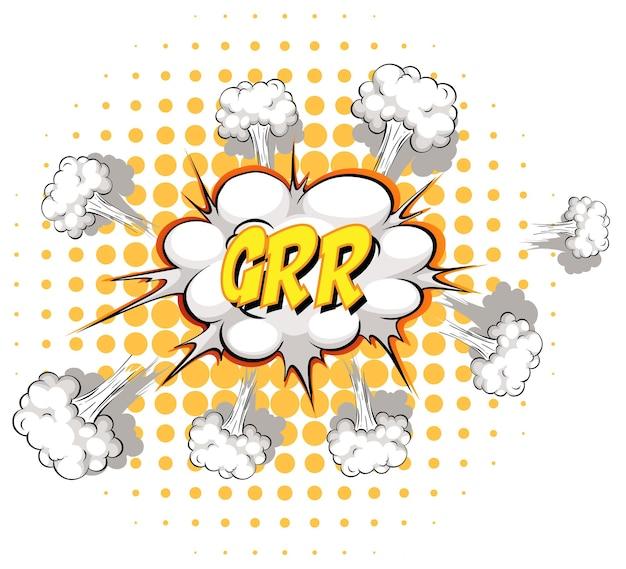 Komische tekstballon met grr-tekst