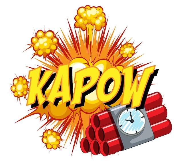 Komische tekstballon met kapow-tekst