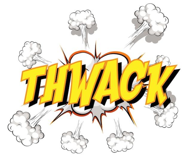 Komische tekstballon met thwack-tekst
