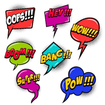 Komische tekstballonnen barsten uit elkaar, wow, hey, ok, omg, crash. voor poster, kaart, banner, flyer. beeld