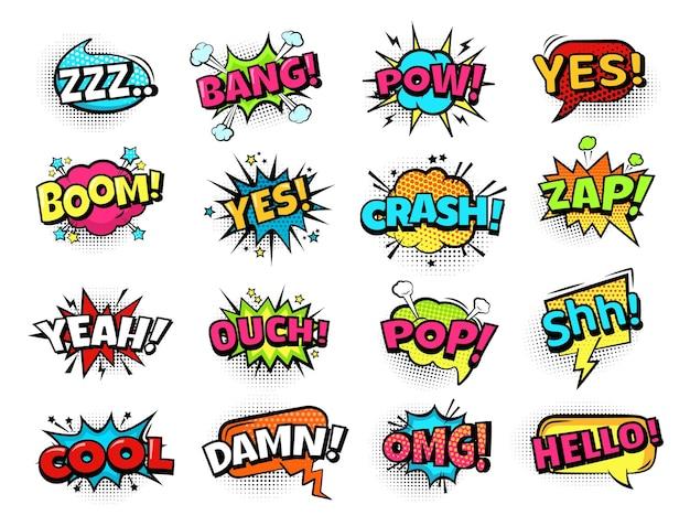 Komische tekstballonnen. cartoon-uitdrukkingen zam, boem en crash, cool en omg, lol. retro strips tekstballon met halftoon