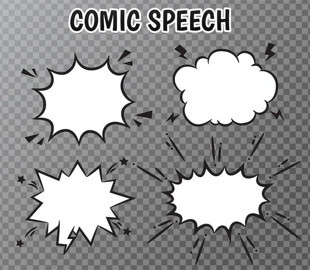 Komische tekstballonnen collectie op transparant.