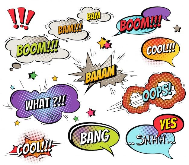 Komische tekstballonnen en spatten ingesteld met verschillende emoties en tekst