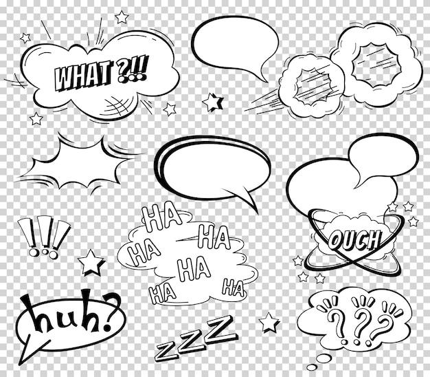 Komische tekstballonnen instellen