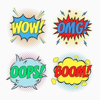 Komische tekstballonnen met emoties wow omg oops en boom cartoonschets van dialoogeffecten