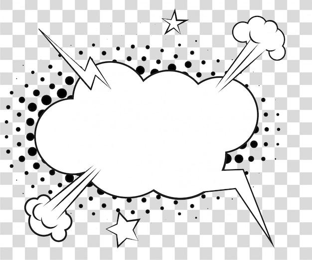 Komische tekstballonnen met halftone schaduwen.