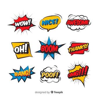 Komische tekstballonnen met verschillende uitdrukkingen