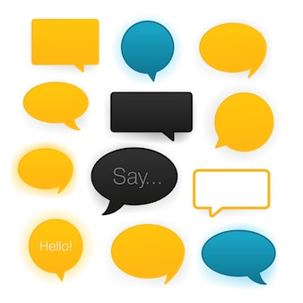 Komische tekstballonnen pictogramserie. vector illustratie