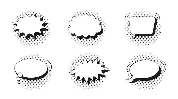 Komische tekstballonnen. pop-art ballonnen met halftoon effect. vector illustratie.