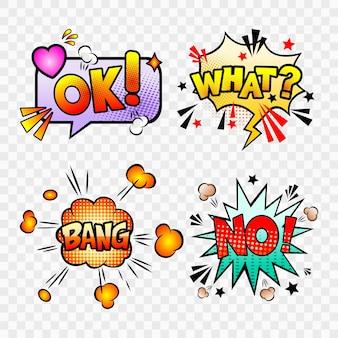 Komische tekstballonnen set met verschillende emoties en tekst ok, what, no, bang.