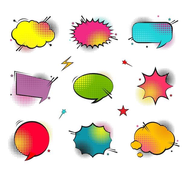 Komische tekstballonnen set met verschillende emoties of set komische tekst pop-art stijl vector helder