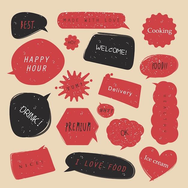 Komische tekstballonnen voor eten met verschillende emoties of een set komische tekstpop-artstijl