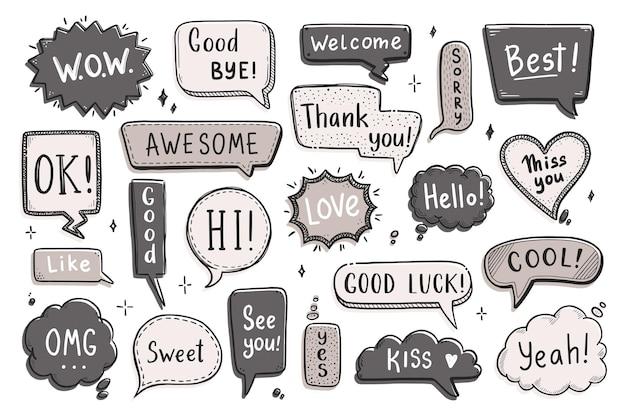 Komische tekstballonnenset met dialoogwoord hallo, ok, tot ziens, welkom. hand getrokken schets doodle stijl. vector illustratie toespraak bubble chat, berichtelement.