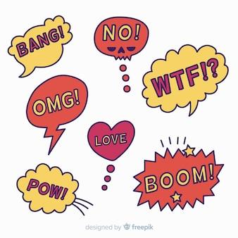 Komische tekstballonverzameling in rood en geel
