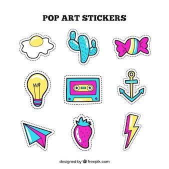 Komische verscheidenheid aan kleurrijke stickers