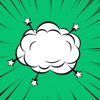Komische wolk of rook op gezoemlijnen achtergrond