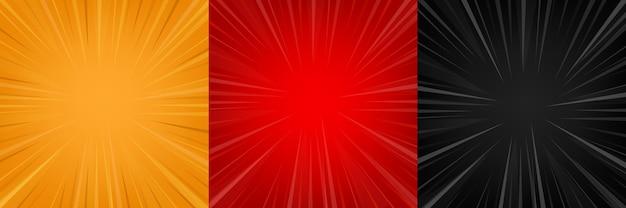 Komische zoom rode, zwarte, gele lege achtergrond