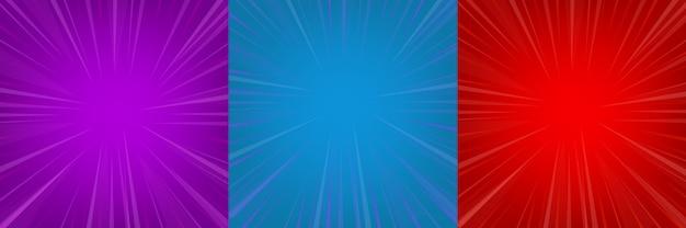 Komische zoom rood, blauw, violet lege achtergrond set