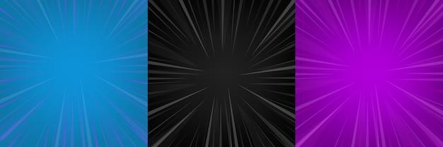 Komische zoom zwart, blauw, violet lege achtergrond