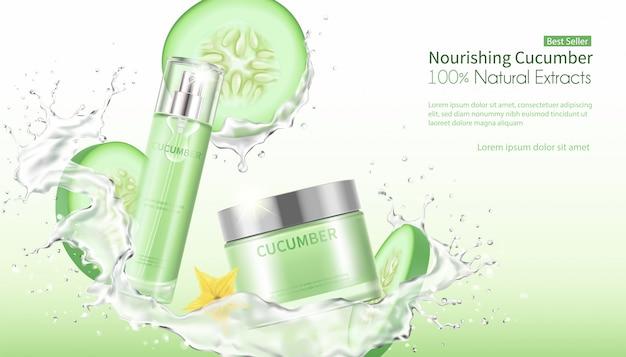Komkommer gezichtsmasker met opspattend water.