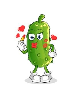 Komkommer make-up mascotte. tekenfilm