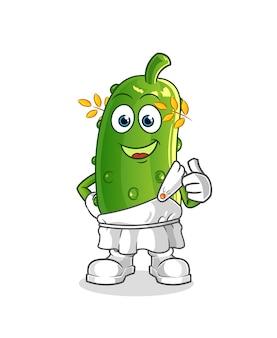 Komkommer met traditionele griekse kleding cartoon. cartoon mascotte