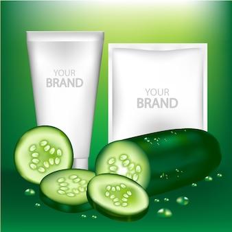 Komkommerschoonheidsmiddel en leeg pakket. vectorillustratie