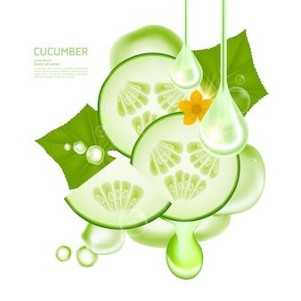 Komkommerserum voor huidverzorgingsproduct vectorillustratie