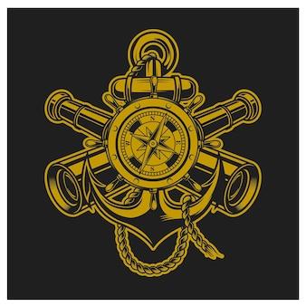 Kompas anker en verrekijker combinatie gouden kleur
