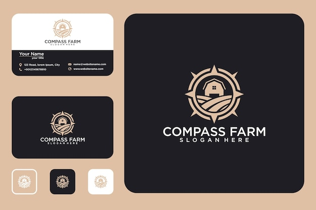 Kompas boerderij logo ontwerp en visitekaartje