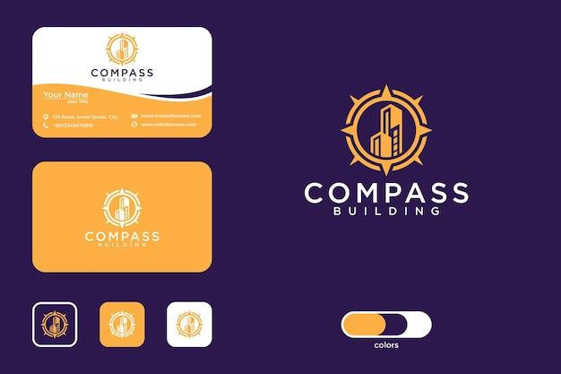 Kompas bouwen logo ontwerp en visitekaartje