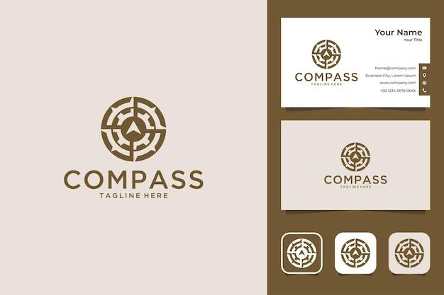 Kompas elegant logo-ontwerp en visitekaartje